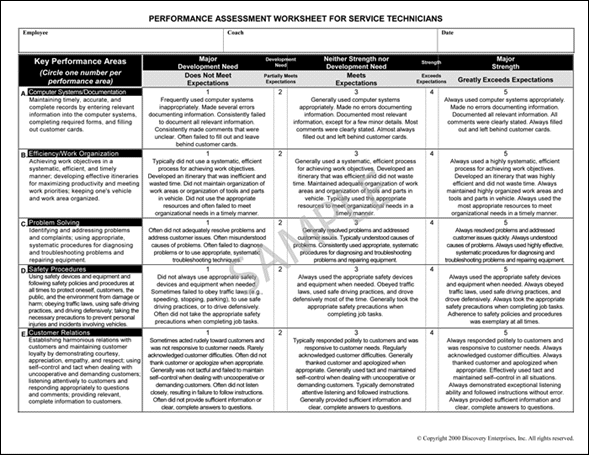 Performance Assessment Worksheet Sample