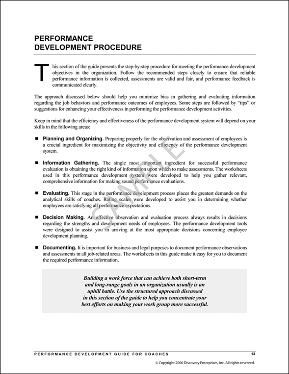 Performance Development Guide Sample Page 3
