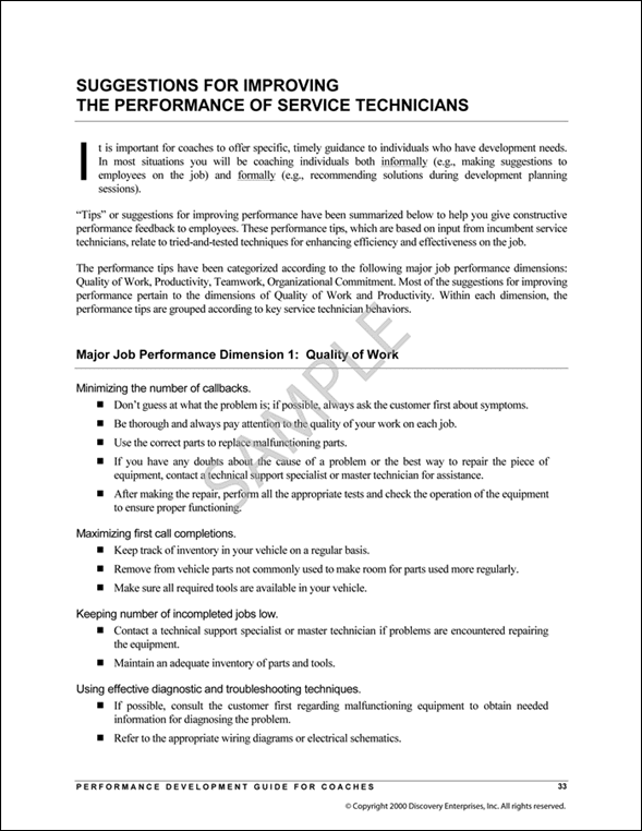 Performance Development Guide Sample Page 6