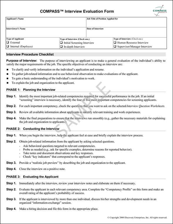 Job Interview Evaluation Form – Interview Evaluation Forms