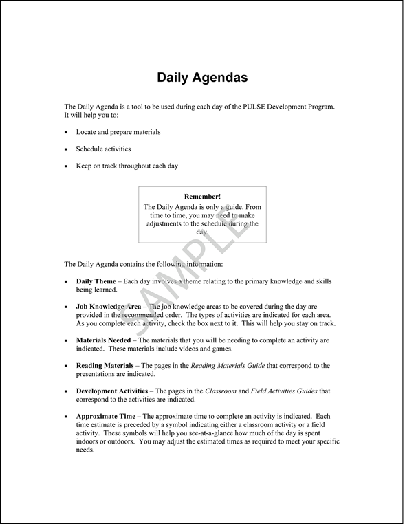 Sample Pages from PULSE Daily Agendas Booklet – Samples of Agendas