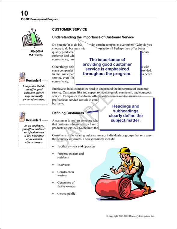 PULSE Reading Materials Guide Sample Page 3