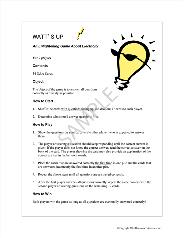 PULSE Watt's Up! Sample Page